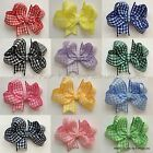 Girls Handmade PAIR Butterfly Gingham School Summer Dress Hair Bows Clips x2