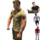 New Fashion Men's Gyms T-Shirts Bodybuilding Fitness Shortsleeves Man Tees Tops