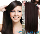100% Human Hair Extensions - One Piece with 5 clips in 80g easy clip Black Brown
