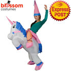 K354 Riding Unicorn Animal Adult Fan Inflatable Fancy Costume Funny Suit Hat