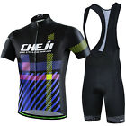 Men Pro Cycling Bicycle Riding Short Sleeve Sport Suit Set Jersey Bib Shorts