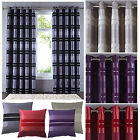Alessia Luxury Chenille Stripe Lined Ring Top Eyelet Curtains NEW PLUM IN STOCK