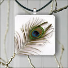 PEACOCK FEATHER PENDANT NECKLACE 3 SIZES CHOICE -jsf4Z