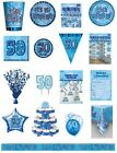 50 / 50th Birthday Blue Glitz Party Range - Party/Plates/Napkins/Banners/Cups