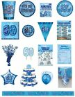 60 / 60th Birthday Blue Glitz Party Range - Party/Plates/Napkins/Banners/Cups