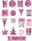 16 / 16th Birthday Pink Glitz Party Range - Party/Plates/Napkins/Banners/Cups