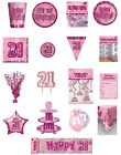 21 / 21st Birthday Pink Glitz Party Range - Party/Plates/Napkins/Banners/Cups