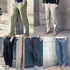 Men Linen Pants Sport Breathable Drawstring Pull-on Casual Pants Slacks Trousers