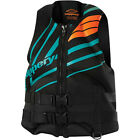 New Mens Guys Slippery Surge Neo Life Vest Flotation Device Black Teal XS-3X