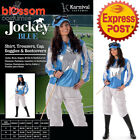 CA218 Blue Jockey Horse Rider Women Uniform Fancy Dress Sport Costume Outfit Hat