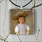 CHILD IN A STRAW HAT ART PAINT BY MARY CASSATT PENDANTS NECKLACE -srt5Z