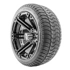 """Golf Cart Wheels and Tires - 14"""" RHOX SS RX354 Black w/ Low Pro Tires - Set of 4"""