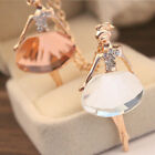 Ballet Girl Crystal Long Pendant Necklace Sweater Chain Jewelry for Women Party