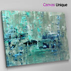AB1465 teal grey paint large Abstract Canvas Wall Art Framed Picture Print