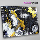 AB1751 black yellow grunge paint Abstract Canvas Wall Art Framed Picture Print