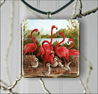 BIRD PINK FLAMINGO & CHICKS PENDANT NECKLACE 3 SIZES CHOICE -lky6Z