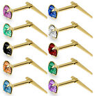 9CT GOLD ANDRALOK CZ NOSE STUDS PINS CUBIC ZIRCONIA 3.5MM ROUND SINGLE EARRINGS