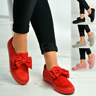 Kyпить New Womens Ladies Bow Trainers Slip On Flat Sneakers Plimsolls Casual Shoes Size на еВаy.соm