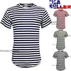 Men T-Shirt Striped Casual Crew Neck Short Sleeve Curved Extended Longline Tee image