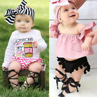 Newborn Infant Baby Girl PU Leather High Bandage Sandals Pram Shoes US STOCK