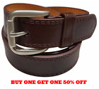 Men's Genuine Leather Casual Dress Plain Brown Belt Silver Buckle New