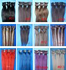 """6 pcs Straight 15"""" Clip In Remy 100% Human Hair Extensions Black Brown Blonde"""