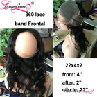 """Peruvian Virgin Hair Body Wave Lace Frontal 13""""*4"""" Curly 360 Closure Straight"""