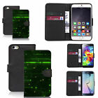 Black pu leather wallet case cover for most mobiles - green dib dobs