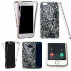 Shockproof 360° Silicone Clear Case Cover For many mobiles - marble design 383