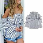 WOMENS LADIES OFF THE SHOULDER BARDOT RUFFLE FRILL STRIPED BLOUSE TOP SHIRT