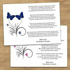 Butterfly Wedding Poem Cards Ask For Money Or Cash As Gift - Invite Inserts X 10