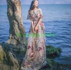 Bohemia Style Women Sweet Floral Embroider Wedding Beach Holiday Long Dress New