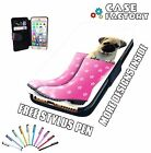 Pug Cute Puppy Dog In Wellington Flower Boots - Leather Flip Phone Case Cover