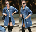 Fashion 3/4 Sleeve Destroyed Battered Denim Button Pocket Long Trench Coat