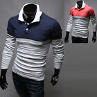 New Fashion Dandy Mens Stylish Stripe Polo Pique Collar T-Shirts Casual Top E184