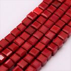 50 FACETED GLASS CUBE BEADS -  4mm - RED -  A040
