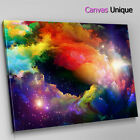 AB357 coloured galaxy space trippy Abstract Canvas Wall Art Framed Picture Print