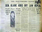 <1930 hdlne newspaper REPEAL PROHIBITION SOUGHT 10 Year Anniversary o LIQUOR LAW
