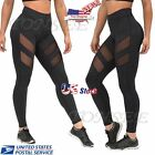 Womens Mesh Stretchy Workout Sports Fitness Gym Yoga Long Skinny Leggings Pants