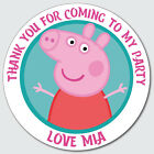 Personalised Custom Shiny Gloss Peppa Pig Birthday Stickers Party Bag Thank You
