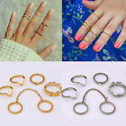 6Pcs/Set Women Gold Silver Above Knuckle Fashion Finger Ring Band Midi Rings