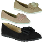 New Womens Ladies Faux Suede Pom Pom Loafers Slip On Ballerina Shoes Flats Size