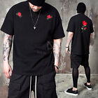 NewStylish Mens Fashion Top Short Sleeve Red Rose Embroidered Boxy T-shirts