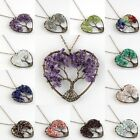 Natural Amethyst Lapis Lazuli Tree of Life Chakras Copper Heart Pendant Necklace