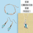 Austrian Elements Crystal 18k Sapphire Pendant Earrings Necklace Bracelet Set