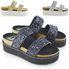 Womens Platform Wedge Heel Sandals Ladies Summer Holiday Flat Two Strap Shoes