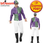 CA290 Green Purple Jockey Horse Rider Mens Uniform Fancy Costume Outfit Hat