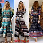 Women Maxi Boho Dress Summer Long Evening Party Beach Floral Print Sundress Us