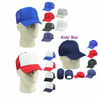Kid's Trucker Hat Ball Cap Youth Caps Mesh Blank Plain Blue
