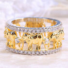 Women Elephant 925 Silver 18K Gold Filled White Topaz Engagement Ring Size 6-10